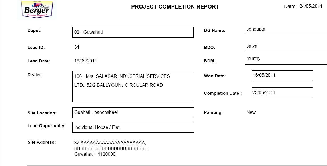Project Completion Report. The Project Completion Report Will Be